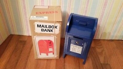New Blue Mini Metal Mailbox money coin bank USPS mail box United States Postal