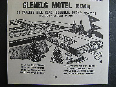 Glenelg Motel 41 Tapleys Hill Rd Glenelg 1966 Advert.