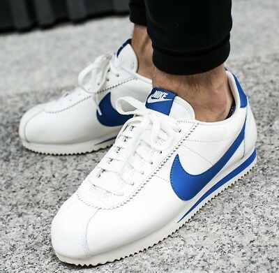 Nike Classic Cortez Special Edition White Blue Leather Trainers Men Women UK 6