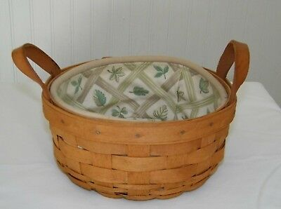 Longaberger Darning basket round with 2 leather handles and liner 1990