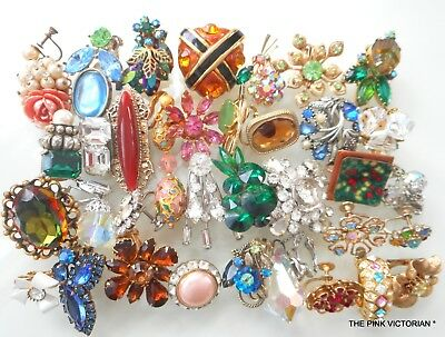 Lot Of 35 High End Vintage Single Earrings,Quality Heirloom Art Projects,Frames