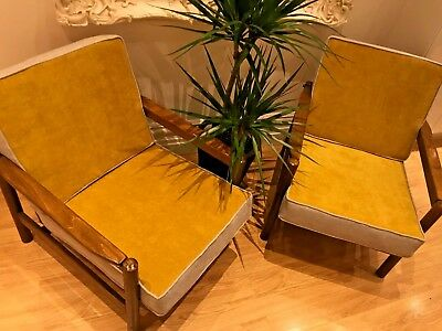 60's 70's Pair of Modernist plush lounge armchairs. Mid-century, Retro, Vintage