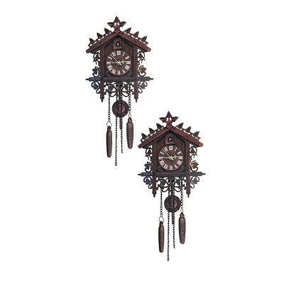 2Pcs Retro Wood Cuckoo Wall Clock with Pendulum~Deep for Living Room Decor