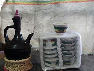 Ethiopian traditional hand made Coffee pot (Jebena) ጀበና with 6 cups.