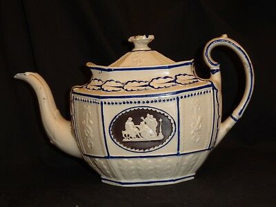 Felspathic white stoneware teapot with Classical Figures panel