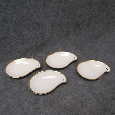 Vintage RS Germany White China w/ Gold Trim Set Of 4 Bone Side Dish Dishes