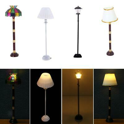 1:12 Dollhouse Miniature Furniture Home Vintage LED Light Switch Floor Lamp ♫