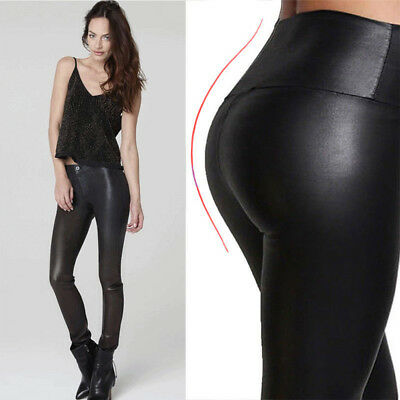 Womens Ladies Leather Look Wet Stretch Skinny Slim Leggings Trousers Size 2-20 E