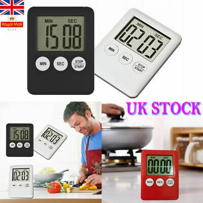 Slim Magnetic LCD Digital Kitchen Timer Count Up Down Cooking Alarm