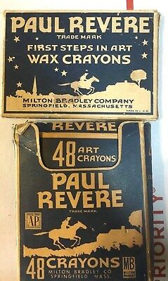 Vintage Crayons: Paul Revere Lot Of 2. By Art Crayons Box Of 16, Box Of 48 Draw