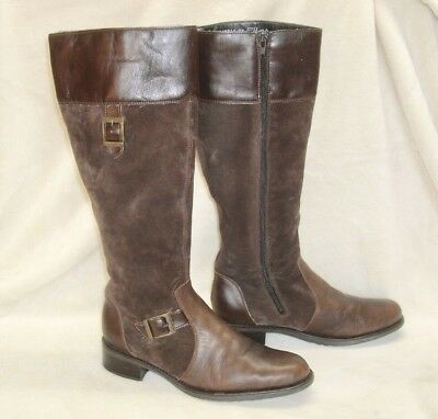Rieker Antistress Tall Riding Boot, Brown, Leather/Suede, Fleece Lined Women 7.5