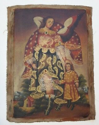 "Cuzco Religious Oil Painting From Peru - Peruvian Folk Art 15 "" x 23"""