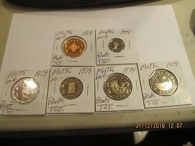 Lot of 6 Different 1979 Malta Proof Coins,KM-8,9,7,10,11,29B.