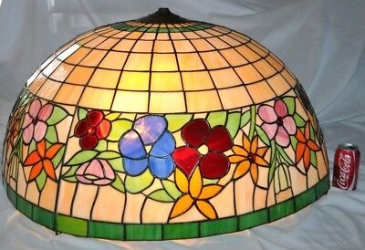 """RARE Vintage Antique Large 36"""" Tiffany Flowers Chandelier Stained Glass Shade"""