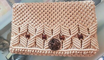 Vintage macrame Fold Over Clutch 70's With Wooden Beads Hand Made Rare Find