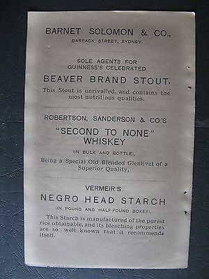 Barnet Solomon & Co Beaver Brand Stout Negro Head Starch 1888 Advertising