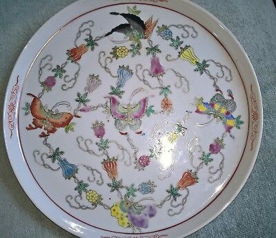 old Chinese large hand painted  charger