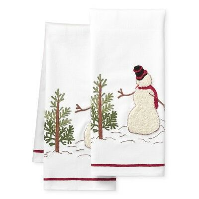 Williams Sonoma Snowman Embroidered Towels, Set of 2-NWT