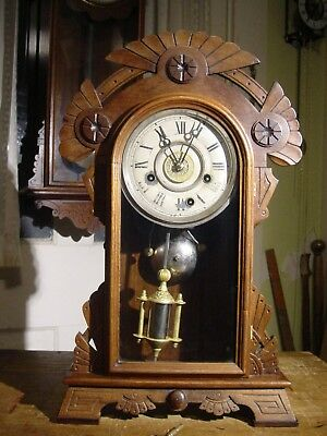 """Antique Rare New Haven 1880 """"tagus"""" Black Walnut One Day Shelf Clock With Alarm"""