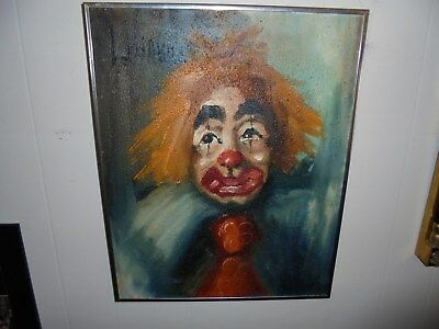 Clown Painting Mid Century Modernist Signed Luciano ? 70 Oil Canvas Metal Frame