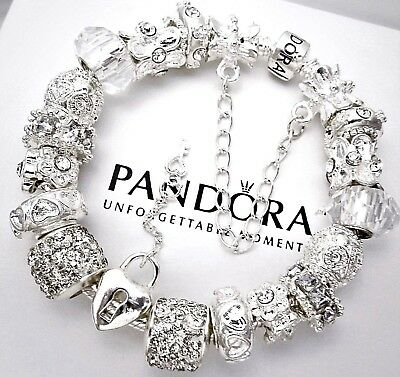 """Authentic Pandora Bracelet Silver with """"Love Story"""" Heart Key European Charms"""