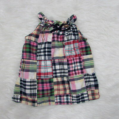 Girls BABY GAP Pink Blue Green Patchwork Plaid Sleeveless Top Size 12-18 Months