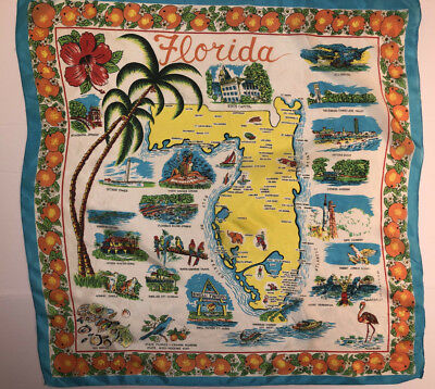 vintage FLORIDA state map silk rayon Travel tourist Souvenir SCARF pre-Disney