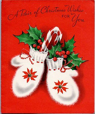 Fuzzy Warm White Mittens Gloves Candy Cane Holly VTG Christmas Greeting Card