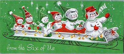 Snowman Family Sled Ride From Six of Us Unused Bell VTG Christmas Greeting Card