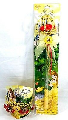 Disney Parks Beauty And The Beast Belle Red Rose Tiara & Light Up Wand Set New