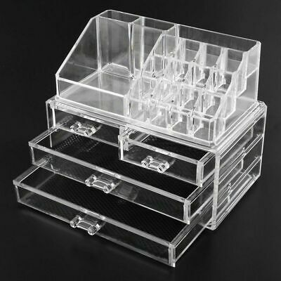 4 Drawers Cosmetic Jewellery Rack Makeup Organizer Box Case Holder Clear Acrylic