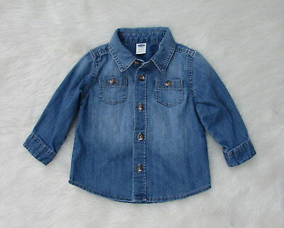 Infant Boys OLD NAVY Blue Denim Button Front Casual Shirt Size 6-12 Months