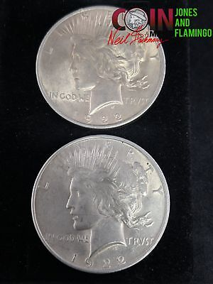 Lot Of 2- 1922 Us Peace Dollar 90% Silver Coins, Mint State Condition #24973