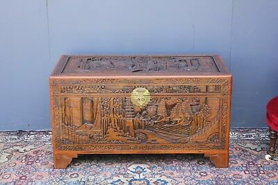 Large Vintage Camphor chest.  Featuring boats.