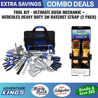 Adventure Kings Tool Kit - Ultimate Bush Mechanic + Hercules Heavy Duty 3m Ratch
