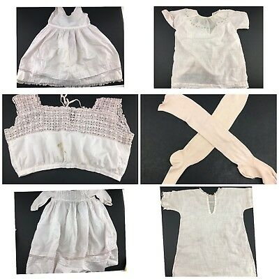 VTG Baby Embroidered Dresses Stockings & Slips Lot Antique Reborn dolls- FLAWS