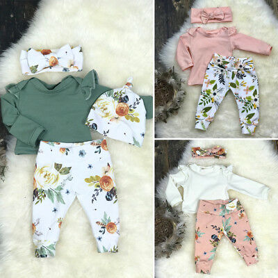 3PCS Newborn Infant Baby Girl Floral Clothes Tops T Shirt Pants Outfit Tracksuit