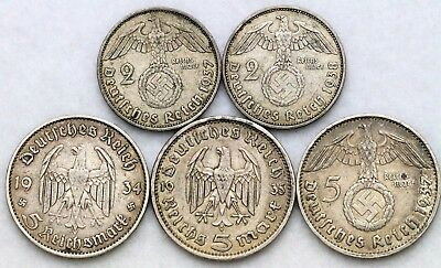 Germany 1933-J 1935-A 1937-D 5 Marks 1937-A 1938-J 2 Marks Third Reich Nice Lot!