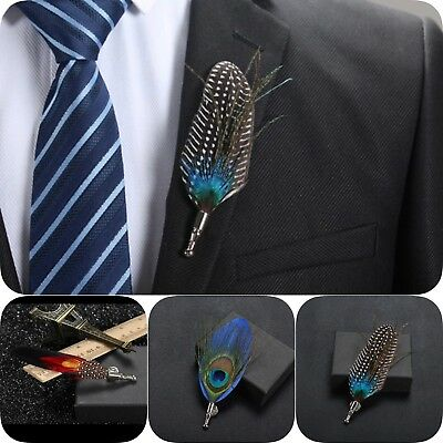9ac63af2abc Peacock Feather Brooch Lapel Pin Men Hat Pin Women Shirt Suit Wedding  Accessory