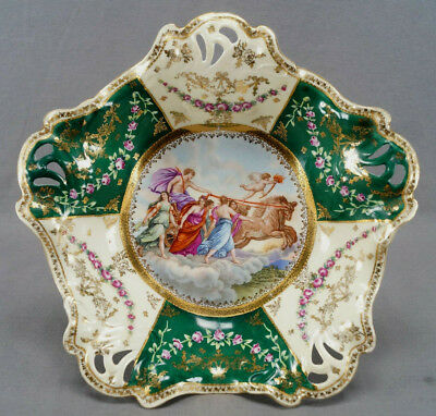 ES Prussia Royal Vienna Style Classical Scene Pink Rose & Gold Garlands Bowl