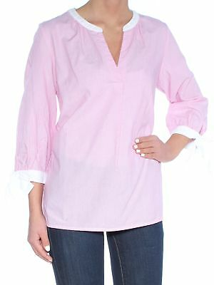 7cd8ae02 TOMMY HILFIGER $70 Womens New 1038 Pink Pinstripe Tie V Neck Tunic Top S B+