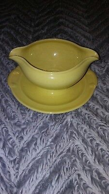 Vtg.TAYLOR SMITH TAYLOR Lu-Ray Pastels Gravy Boat & Underplate Attached Yellow