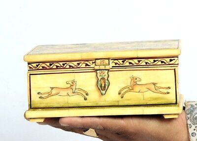 Vintage Look Fine Hand Made Miniature Painted Wood + Camel Bone Pen Box 11089