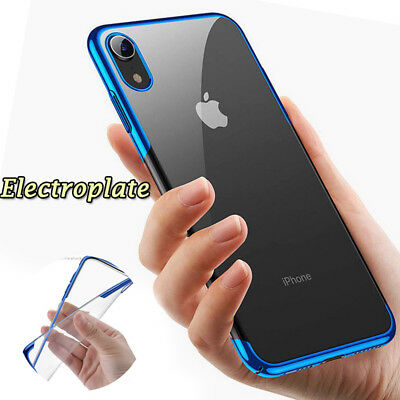 Shockproof Plating Soft Silicone Clear Case Cover For iPhone XS Max X 8 7 6 Plus