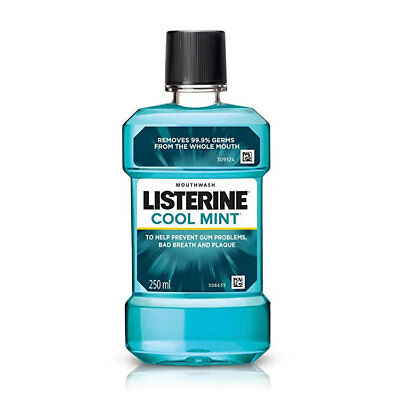 Listerine Cool Mint Antiseptic Mouthwash 250Ml Bad Breath Plaque Gingivitis