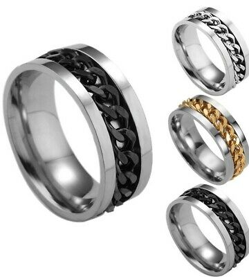 Men's 7mm Stainless Steel Ring With Rotating Center Chain Black Silver Gold, NWT
