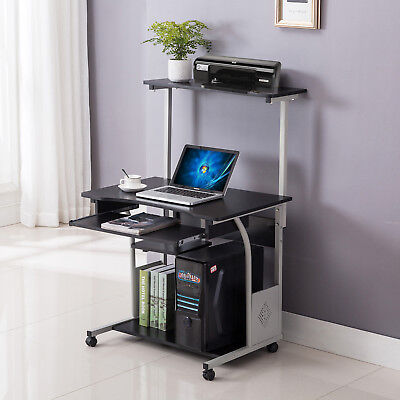 Computer Desk Rolling Shelf Stand Table Laptop W/Printer Home Office  Furniture