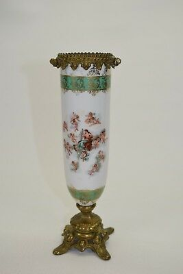 Antique Candlestick Holder- Brass & Porcelain Woman on Chariot pulled by Cherubs