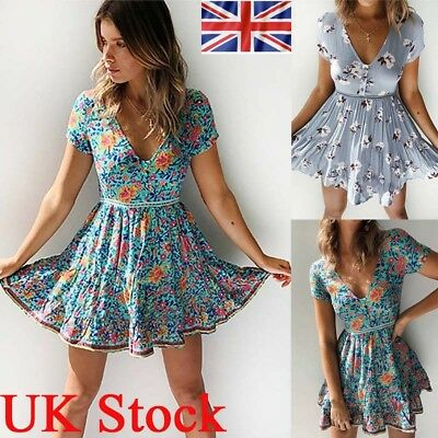 Womens Boho Floral V Neck Mini Dress Ladies Summer Beach Party Holiday Sundress