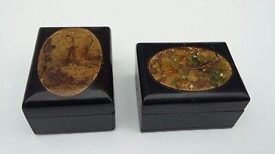 Antique pair of wooden boxes / Treen with windmill & floral detailing.
